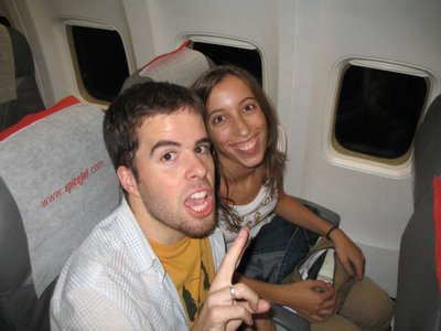Albert and Lara on the SpiceJet plane from Chennai to Delhi at 2:30am.